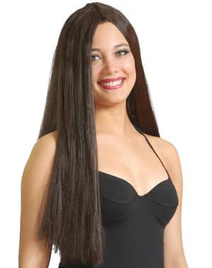 Basic kastanjebruine pruik met lang haar