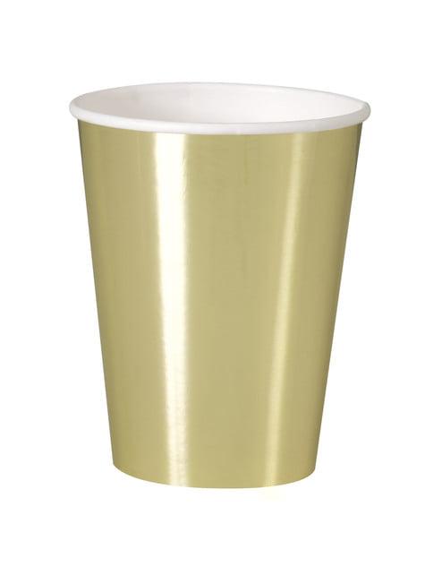 סט 8 כוסות זהב - כלי שולחן צבע מוצק