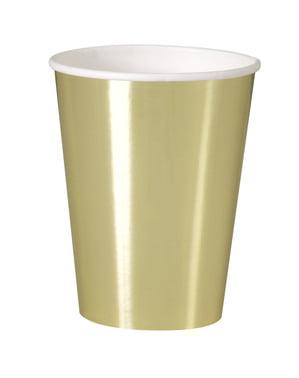 Sett med 8 gull kopper - Solid Farge Servise