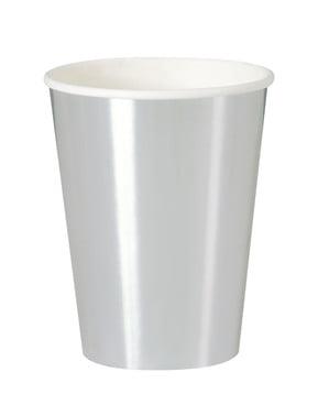 Zestaw 8 srebrnych kubków - Solid Colour Tableware
