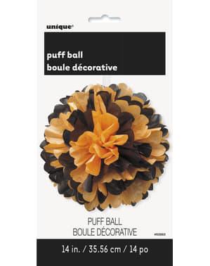 Decoratieve zwart oranje poef bal - Basic Halloween