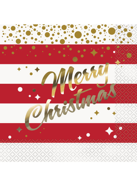 סט 16 מפיות חג שמח - זהב Sparkle המולד