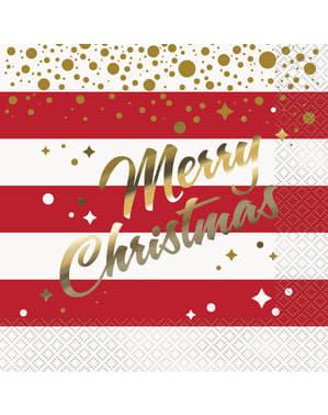 Zestaw 16 serwetek z napisem Wesołych świąt - Gold Sparkle Christmas