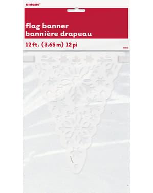 Banderines de copos de nieve navideños - White Snowflakes
