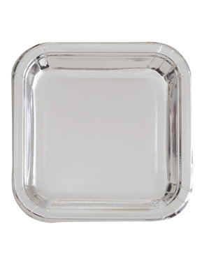 8 farfurii pătrate argintii (23 cm) - Solid Colour Tableware