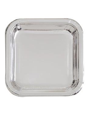 Zestaw 8 kwadratowych srebrnych talerzy - Solid Colour Tableware