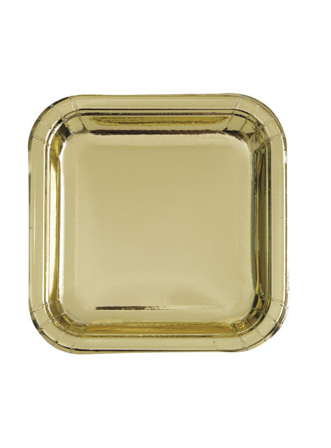 8 platos cuadrados dorados (23 cm) - Solid Colour Tableware