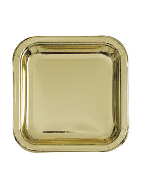 8 tallrikar fyrkantiga guldfärgade (23 cm) - Solid Colour Tableware
