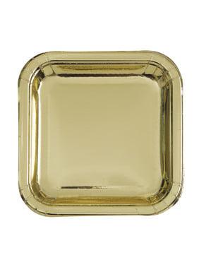Sett med 8 firkantet gull tallerken - Solid Farge Servise