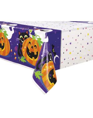 Neliö pöytäliina hauskalla kurpitsalla, kissalla ja kummituksella - happy halloween