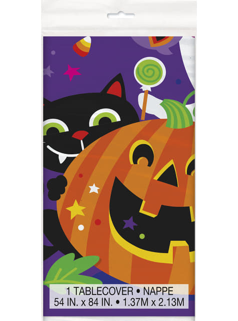 Rectangular tablecloth with fun pumpkin, cat and ghost - Happy Halloween