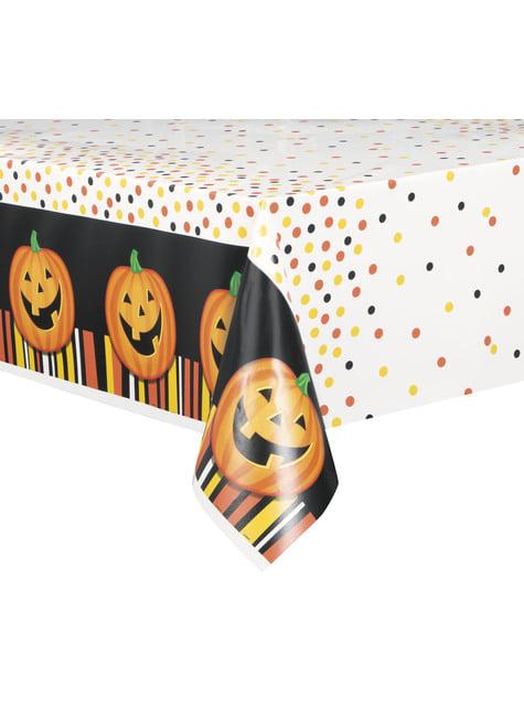 Toalha de mesa retangular de abóbora sorridente com pintas e riscas - Smiling Pumpkin