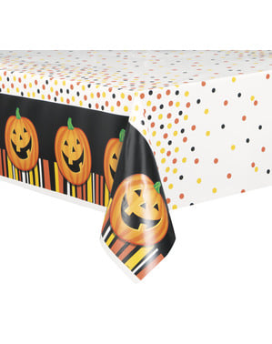 Rectangular tablecloth with smiling pumpkin, polka dots and stripes - Smiling Pumpkin