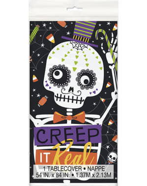 Rectangular tablecloth with skeletons and pumpkins - Skeleton Trick or Treat