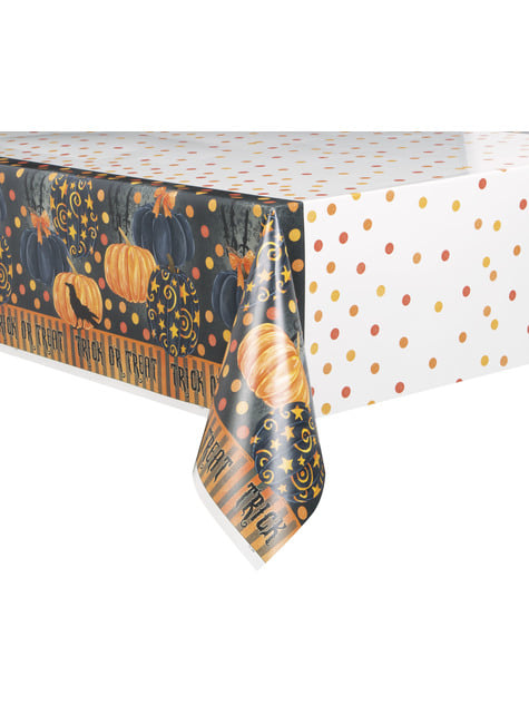 Rectangular tablecloth with elegant pumpkins - Painted Pumpkin & Spooky Night