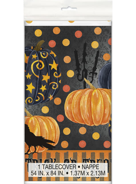 Mantel rectangular con calabazas elegantes - Painted Pumpkin & Spooky Night