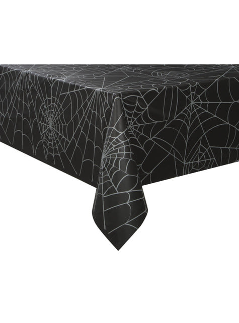 Mantel rectangular negro con telarañas - Basic Halloween - para tus fiestas