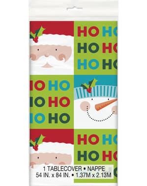 Rectangular Christmas HO HO HO tablecloth - Holly Santa
