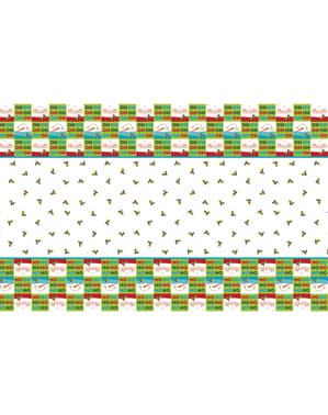 Rektangulær jule HO HO HO dug - Holly Santa