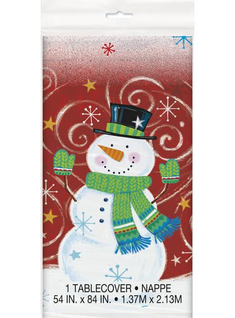 Mantel rectangular de muñeco de nieve - Snowman Swirl - para tus fiestas