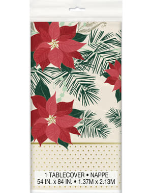 Rectangular tablecloth with poinsettias - Red & Gold Poinsetta