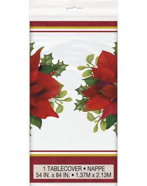 Mantel rectangular con flor de pascua elegante - Holly Poinsettia