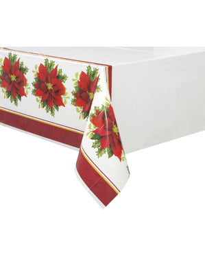 Rectangular tablecloth with elegant poinsettia - Holly Poinsettia