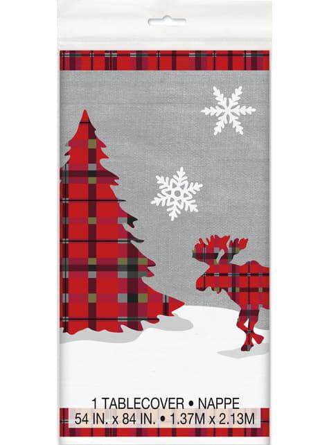 Čtvercový ubrus s vánočním stromkem, sobem a rustikální kostkou - Rustoc Plaid