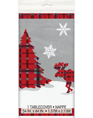 Mantel rectangular de árbol de navidad y reno navideño con cuadros rústicos - Rustic Plaid Christmas