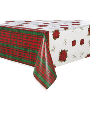Rectangular tablecloth with poinsettia and Scottish plaid - Poinsettia Plaid