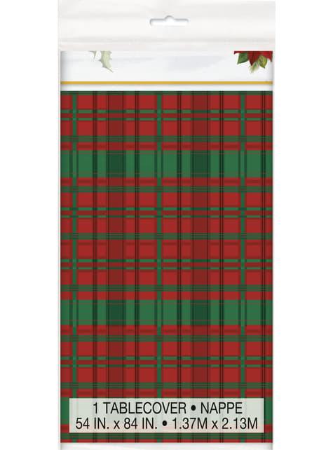 Mantel rectangular con flor de pascua y cuadros escoceses - Poinsettia Plaid - para tus fiestas