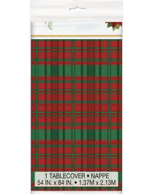 Rektangulær dug med julestjerner og skotske tern- Poinsettia Plaid