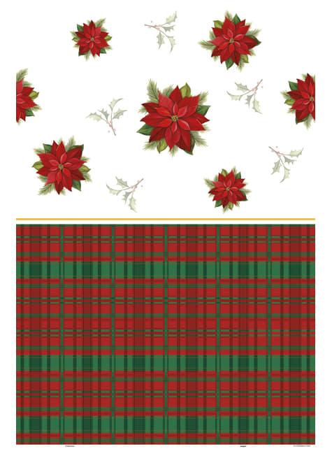 Mantel rectangular con flor de pascua y cuadros escoceses - Poinsettia Plaid - barato