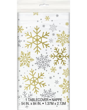 Mantel rectangular - Silver & Gold Holiday Snowflakes