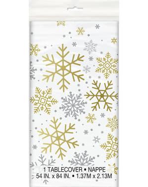 מפת שולחן מלבני - Silver & Gold חג פתיתי שלג