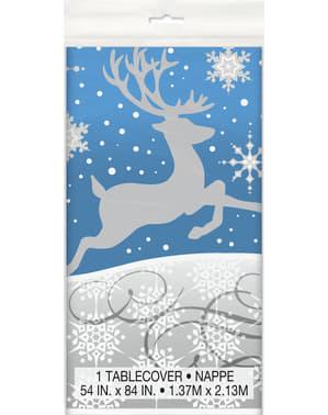 Rektangulær blå bordduk med sølv reinsdyr - Sølv Snøflak Jul