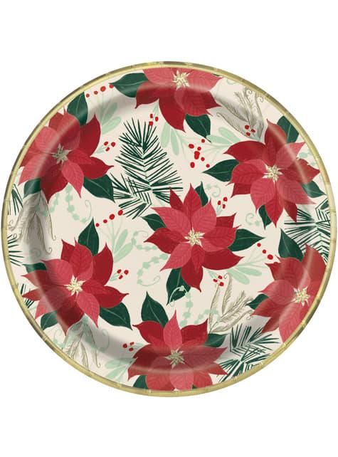 8 platos con flores de pascua (23 cm) - Red & Gold Poinsettia