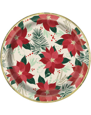 8 large plates with poinsettia (23 cm) - Red & Gold Poinsettia