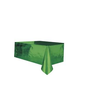 Rektangulær skinnende grønn bordduk - Basic Christmas