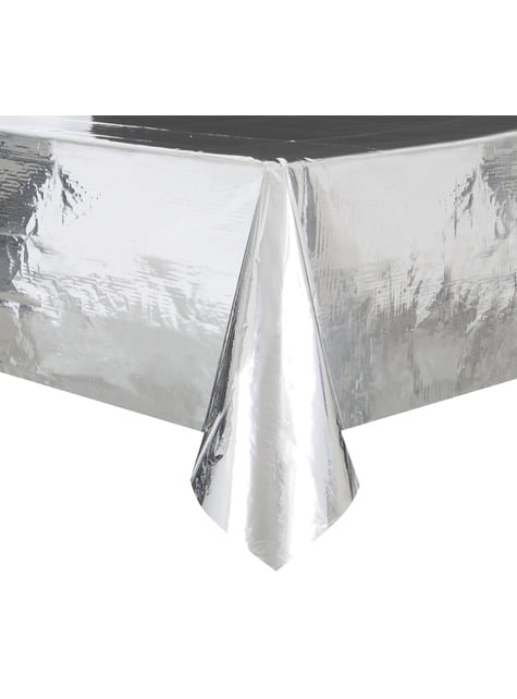 Toalha de mesa retangular prateada - Basic Christmas