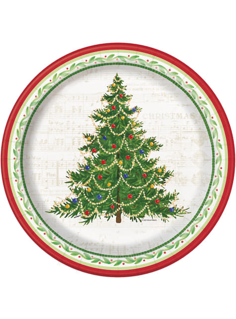 8 round plates with Christmas tre (26 cm) - Classic Christmas Tree