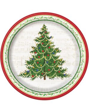 8 круглих тарілок з ялинкою (26 см.) - Classic Christmas Tree