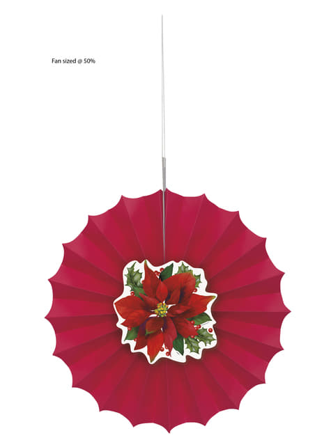 Abanico de papel decorativo con flor de pascua elegante - Holly Poinsettia