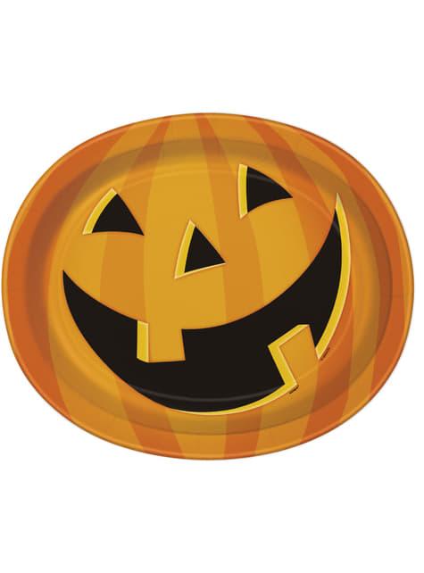 8 patos ovalados de calabaza sonriente (31x25 cm) - Smiling Pumpkin