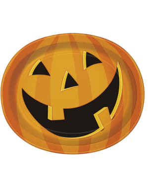 8 assiettes ovales citrouille souriante - Smiling Pumpkin