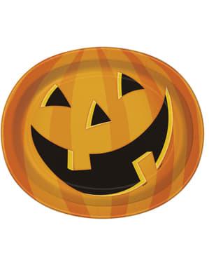 8 ovale lachende pompoen borde (31x25 cm) - Smiling Pumpkin