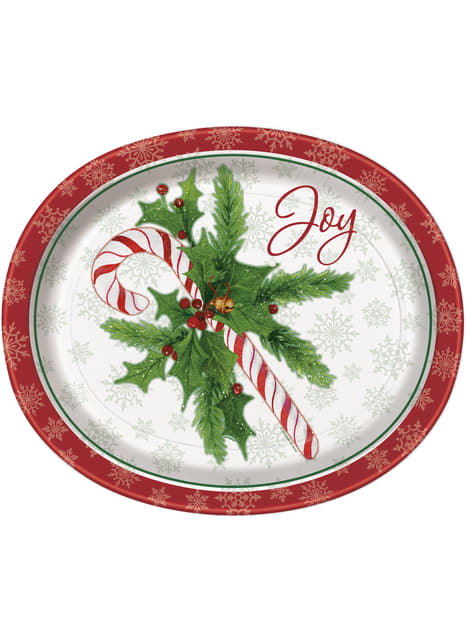 Set of 8 candy cane plates - Candy Cane Christmas