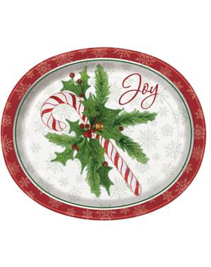 8 platos de caramelo navideño (31x25 cm) - Candy Cane Christmas