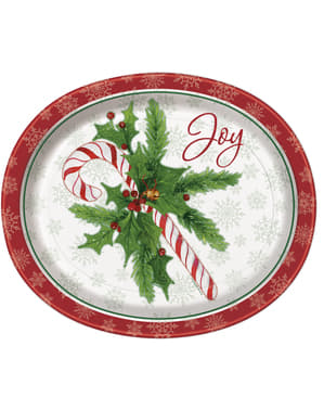 8 pratos de caramelo natalíci (31x25 cm) - Candy Cane Christmas