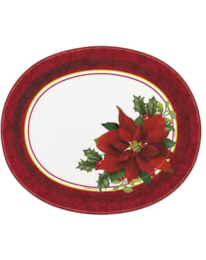 8 assiettes ovales avec étoiles de noël élégante - Holly Poinsettia